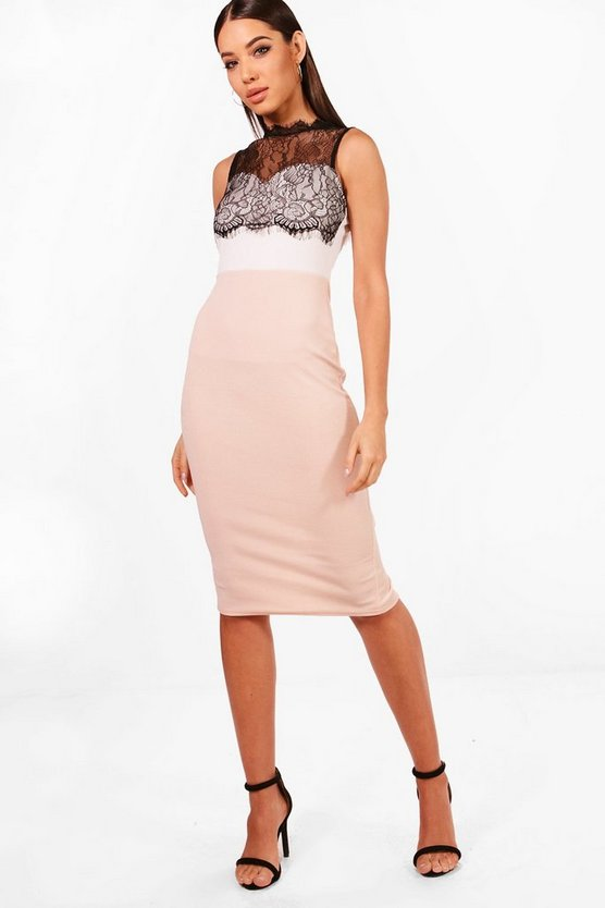 Rose Lace Trim Midi Dress
