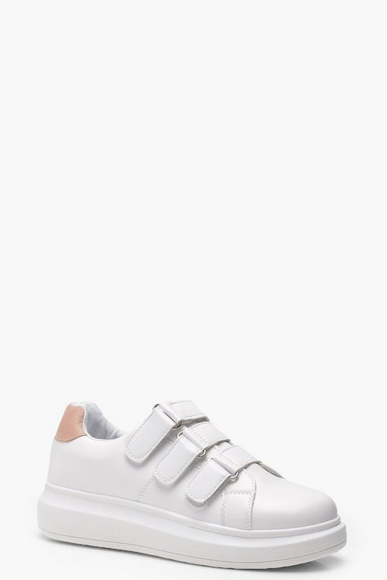 Matilda Velcro Strap Platform Trainers by Boohoo