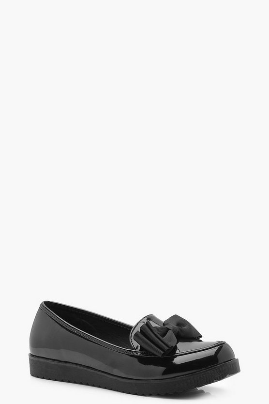 Patent Bow Trim Creeper Loafers