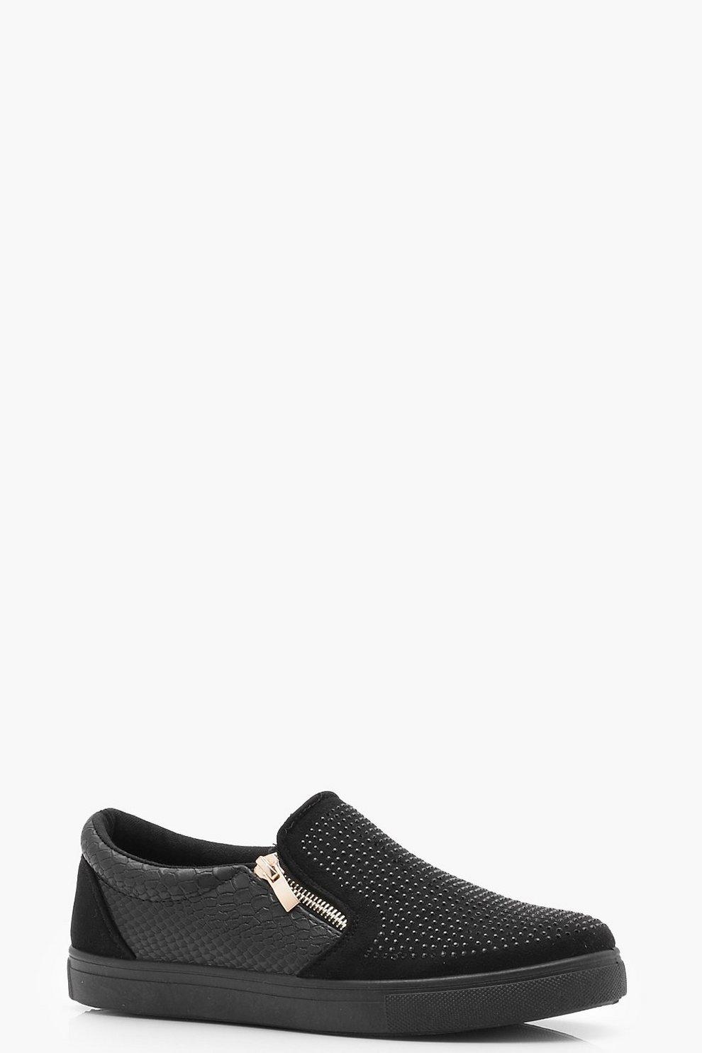 Diamante scarpe Skater con cerniera boohoo neri Floreale NMlFXRmmu