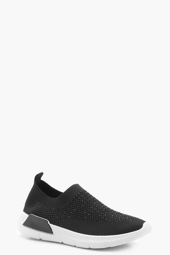Emilia Diamante Knit Slip On Trainers