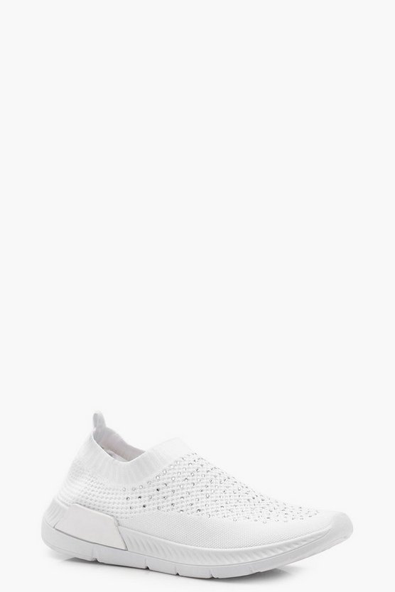 Diamante Knit Slip On Trainers