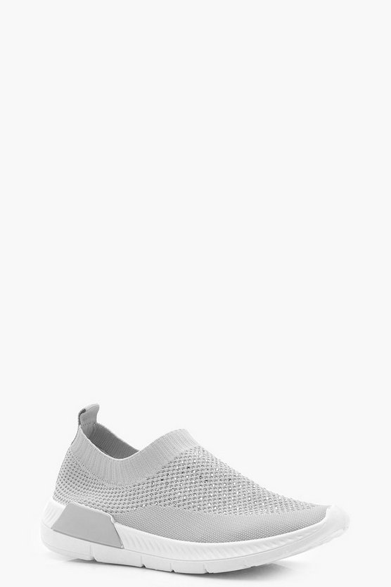 Faith Diamante Slip On Trainers