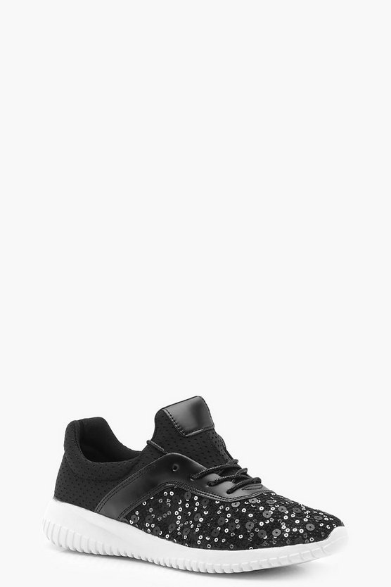 Lexi Sequin Lace Up Sports Trainers