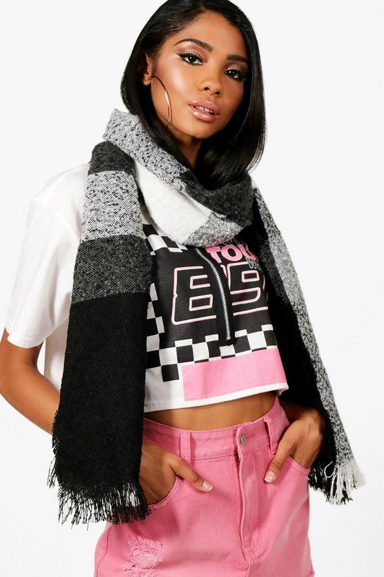 Mia Block Stripe Oversized Blanket Scarf