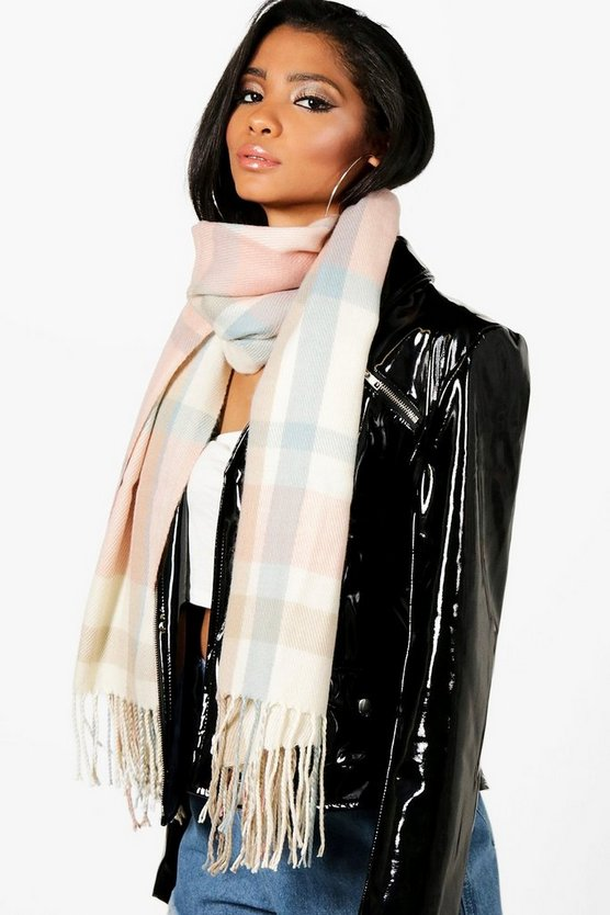Lily Tassel Check Oversized Scarf