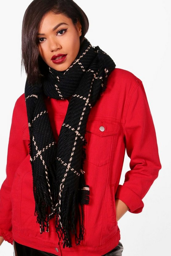 Amy Stitch Check Oversized Blanket Scarf