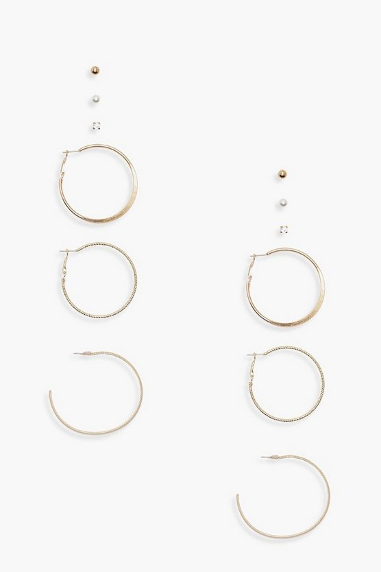 Eva Stud and Hoops 6 Pair Earring Pack