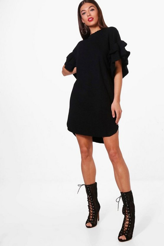 Rebecca Ruffle Sleeve Marl Knitted Dress