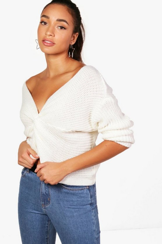 Evie Knot Front Off The Shoulder Jumper