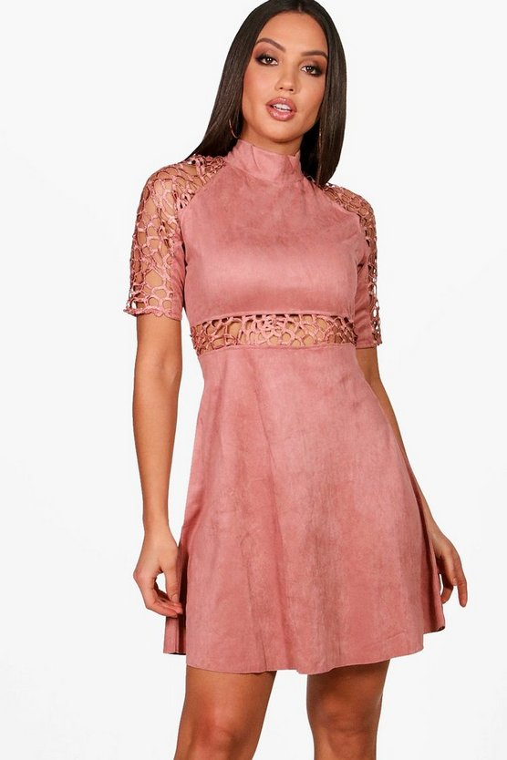 Joyce High Neck Cut Out Suedette Dress
