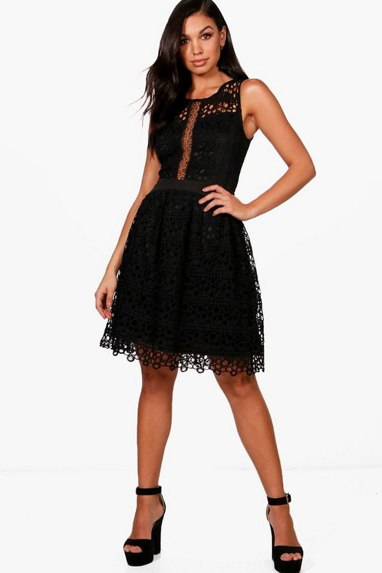 Boutique Corded Lace Skater Dress