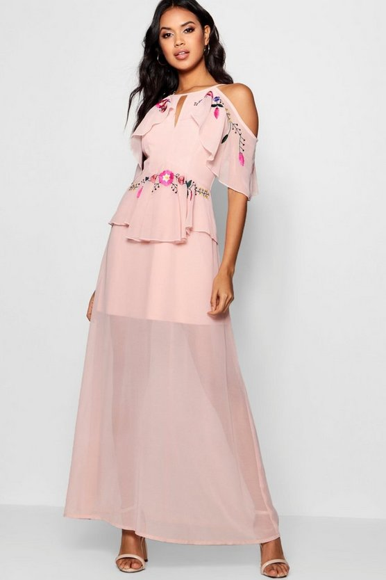 Izzy Embroidered Ruffle Maxi Dress