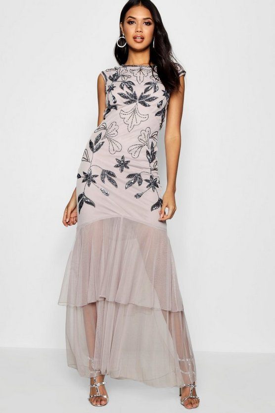 Boutique Fran Embellished Ruffle Maxi Dress
