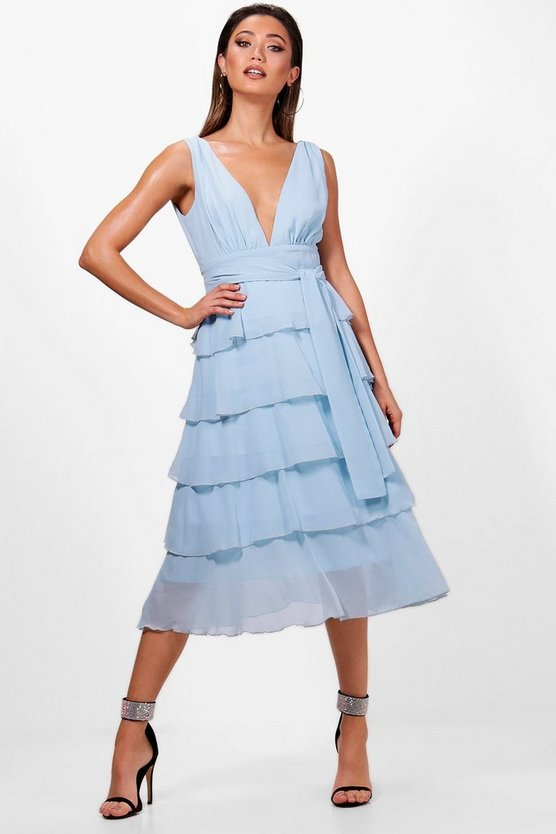 Elizabeth Plunge Ruffle Midi Dress