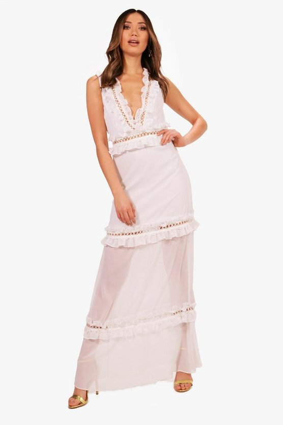 Boutique Ladder Trim Ruffle Maxi Dress