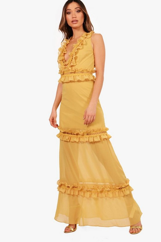 Boutique Cait Ladder Trim Ruffle Maxi Dress