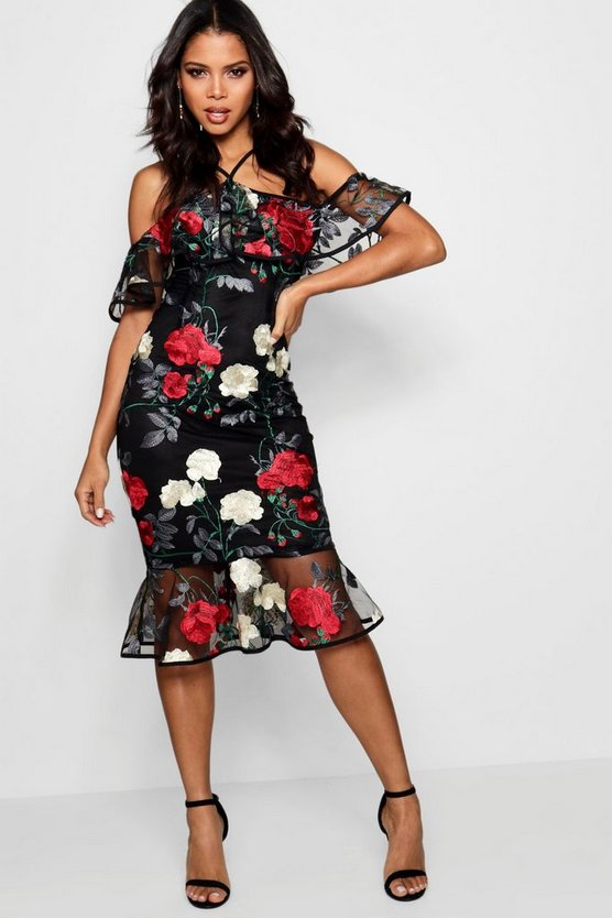 Boutique Josie Embroidered Organza Dress