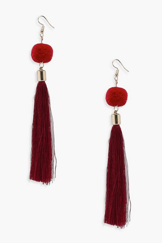 Pom And Tassel Earrings