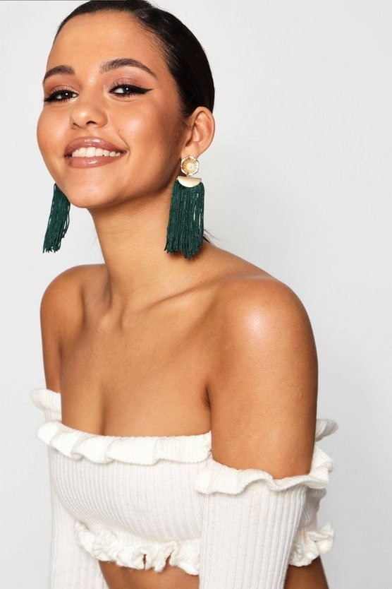 Floral Detail Tassel Earrings