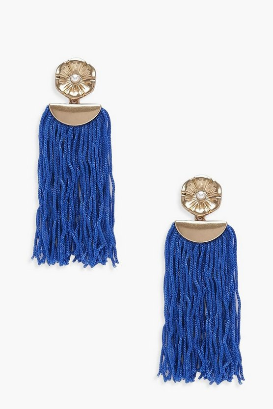 Lily Floral Detail Tassel Earrings