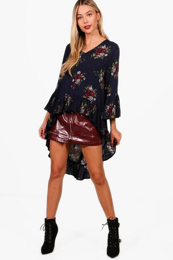 Freya Floral Woven High Low Hem Blouse