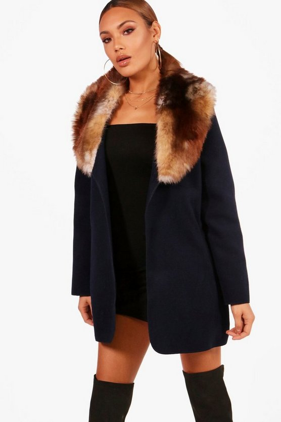Abigail Faux Fur Trim Coat