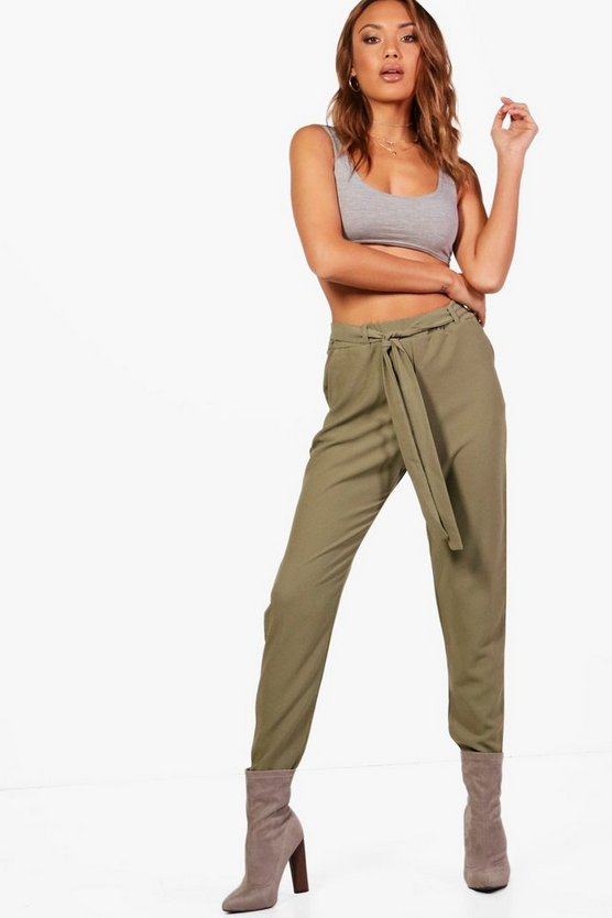 Hannah Tie Waist Tapered Trouser