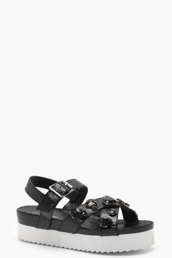 Jessica Embellished Cross Strap Flatform Sandals