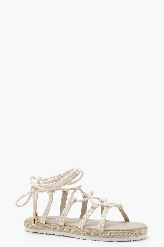 Eliza Rope Tie Up Flat Sandals