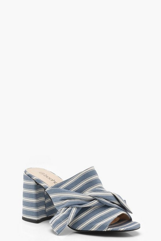 Olivia Striped Knotted Front Mule Heels