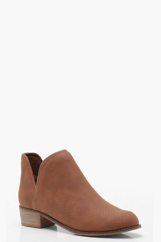 Cut Out Pull On Ankle Boots