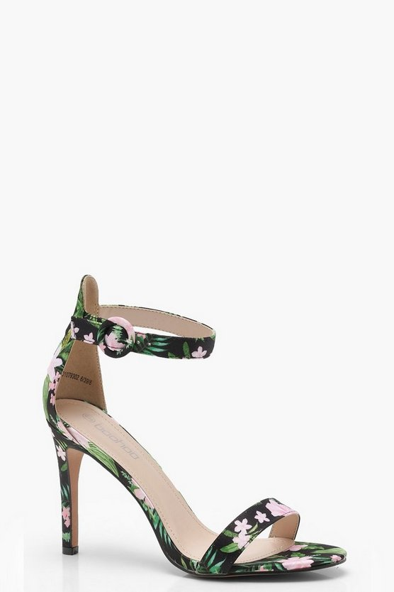 Floral Printed Mid 2 Part Heels