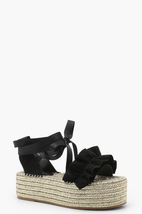 Grace Ruffle Ankle Wrap Espadrille Flatforms