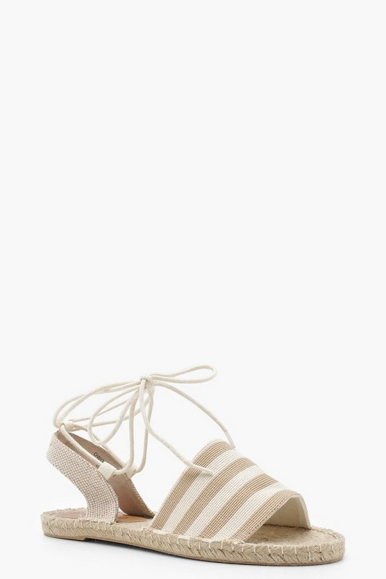 Sofia Canvas Striped Ankle Wrap Espadrille Flats