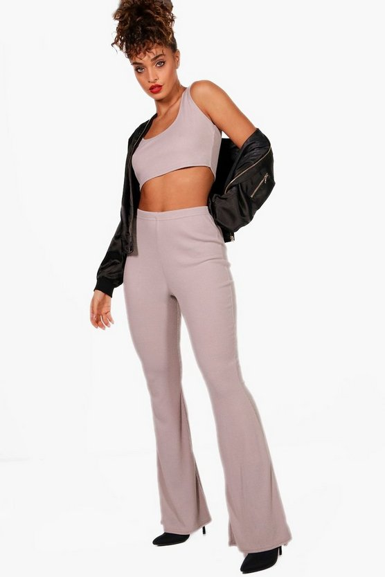 Lucy Basic Rib and Flared Trouser Co-ord