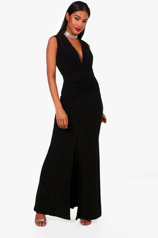 Ruched Front Plunge Slinky Maxi Dress