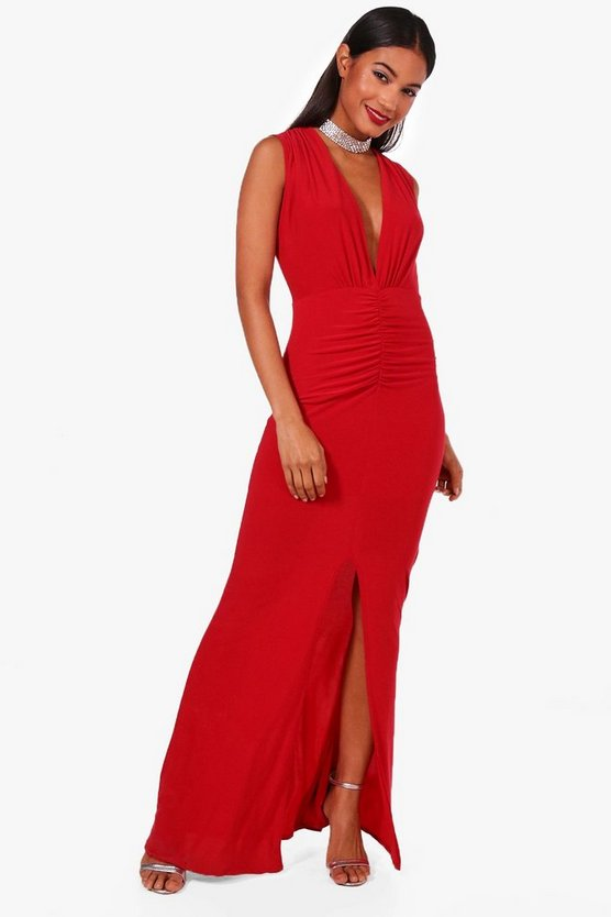 Lana Ruched Front Plunge Slinky Maxi Dress