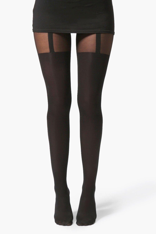 boohoo Womens Mock Suspender Tights - Black - One Size, Black
