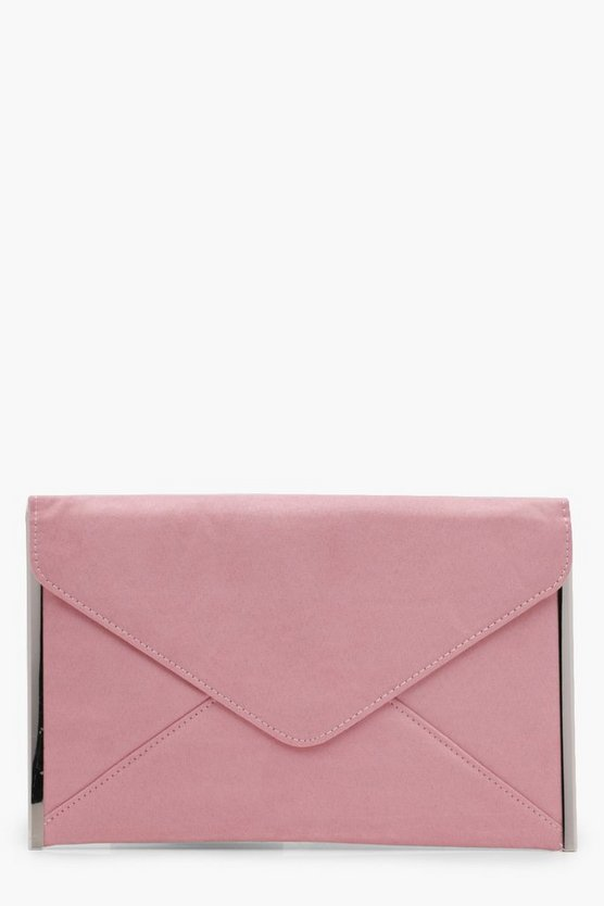 Polly Side Bar Suedette Envelope Clutch