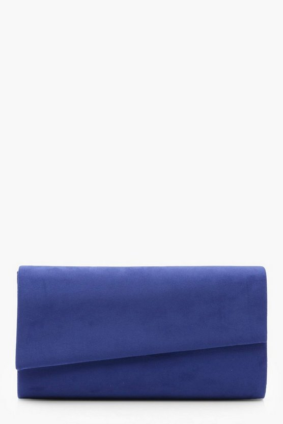 Katy Asymetric Suedette Clutch With Chain