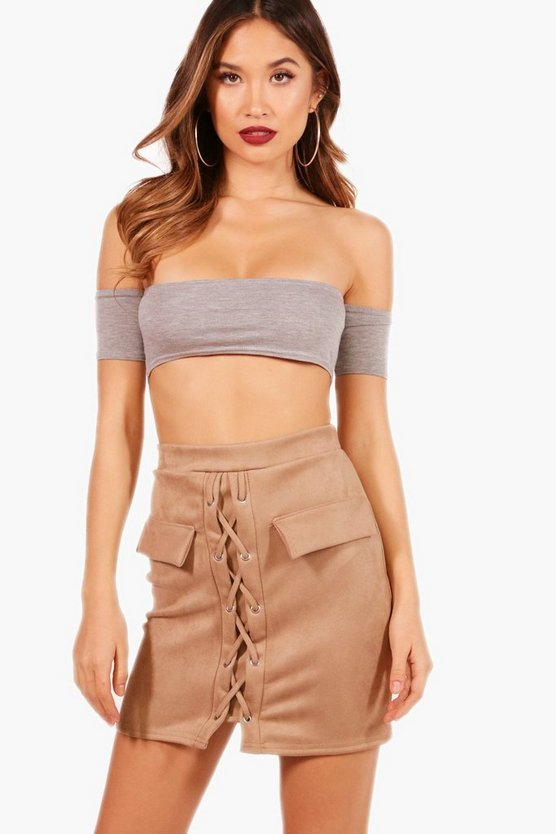 Eliza Lace Up Suedette Mini Skirt