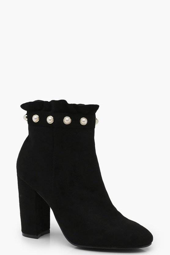 Martha Frill and Pearl Trim Sock Boot