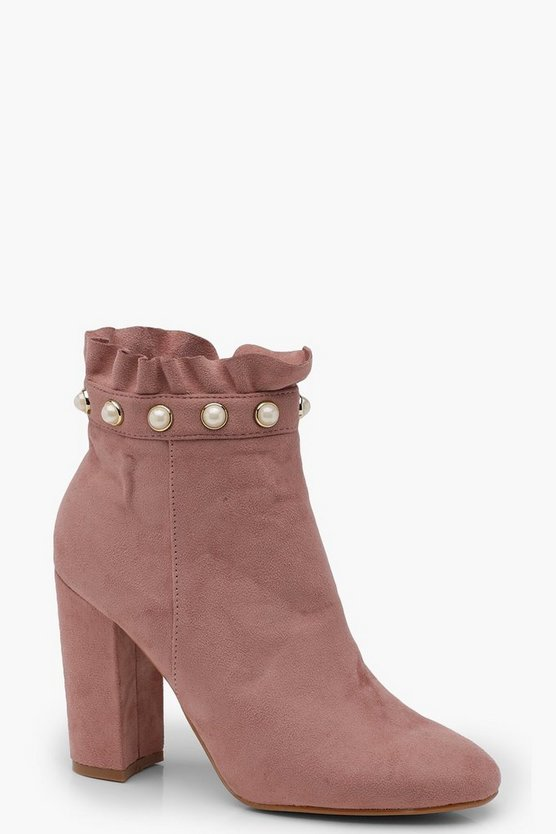 Martha Frill and Pearl Trim Sock Boots