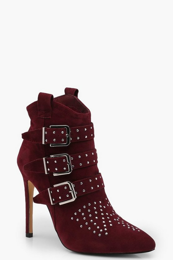 Rosie Pin Stud Pointed Toe Heeled Shoe Boots
