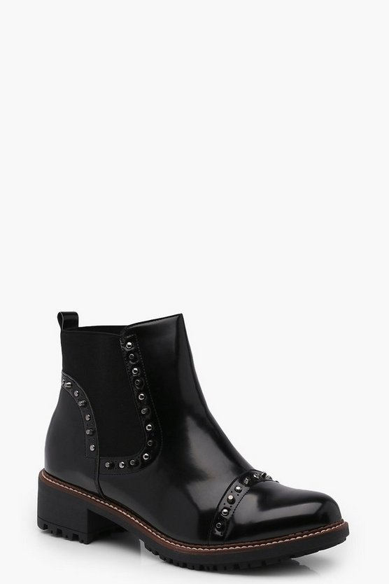 Ella Studded Stitched Chelsea Boots