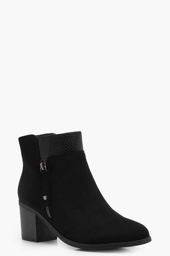 Olivia Snake Panel Zip Side Shoe Boot