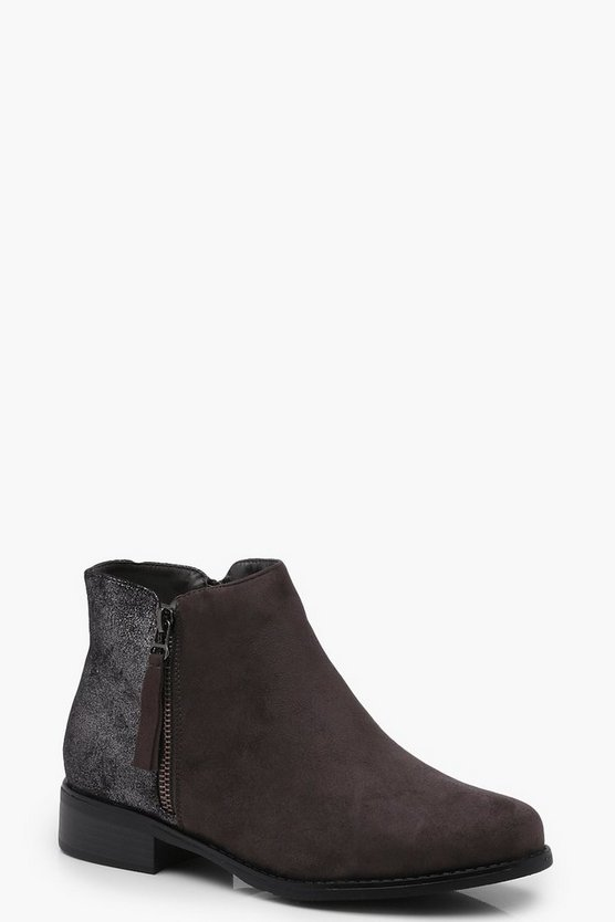 Katie Glitter Back Zip Side Chelsea Boot