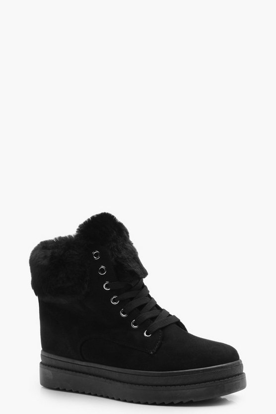 Megan Faux Fur Lined Wedge Hiker