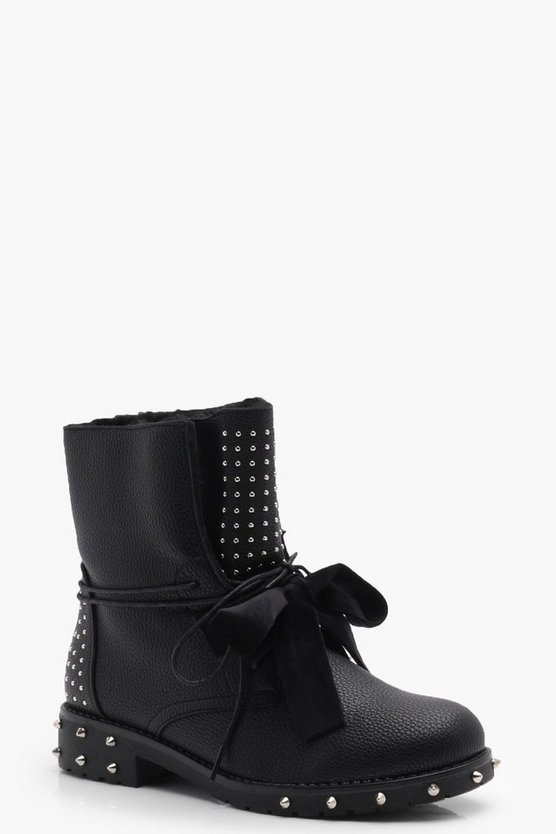 Lauren Stud & Ribbon Lace Up Worker Boots